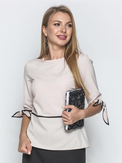 Блузка пудрового цвета с завязками на манжетах - 39870, фото 1 – интернет-магазин Dressa