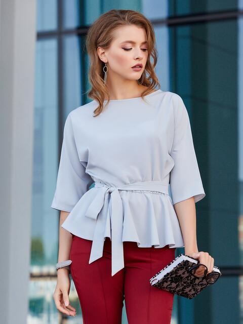 Блузка с баской и резинкой по талии серая - 39867, фото 1 – интернет-магазин Dressa