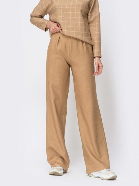 Брюки прямого кроя с карманами по бокам бежевые - 44178, фото 1 – интернет-магазин Dressa