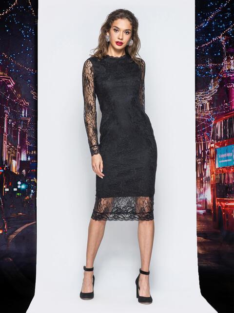 Гипюровое платье с подкладкой черного цвета - 17939, фото 1 – интернет-магазин Dressa