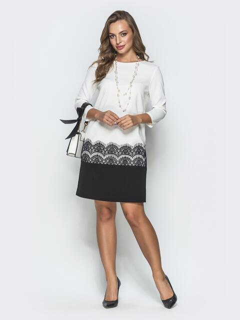 Классическое платье с кружевом чёрно-белое - 39877, фото 1 – интернет-магазин Dressa