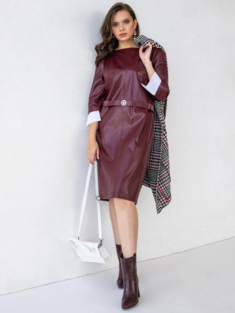 Платье батал из эко-кожи с контрастными манжетами бордовое 51528, фото 1