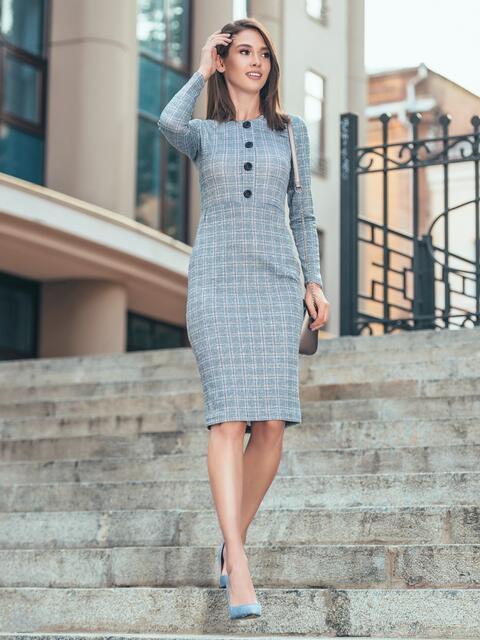 Платье-футляр в клетку с декоративными пуговицами - 17105, фото 1 – интернет-магазин Dressa