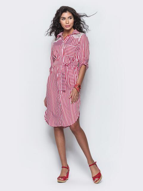 Платье-рубашка в красную полоску с кружевом на плечах и спинке - 11687, фото 1 – интернет-магазин Dressa