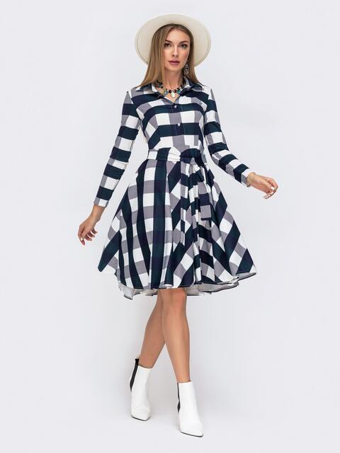 Платье в тёмно-синюю клетку с расклешенной юбкой - 41596, фото 1 – интернет-магазин Dressa