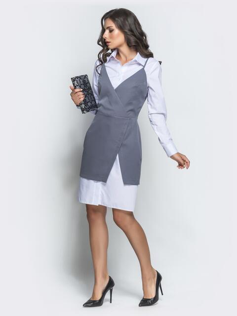 Серый комплект из длинной рубашки и сарафана - 39876, фото 1 – интернет-магазин Dressa