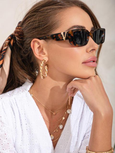 Коричневые очки прямоугольной формы с декором на дужках 54176, фото 1
