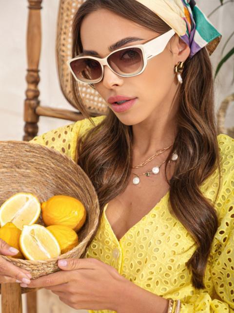Бежевые очки закругленной формы с массивными дужками 54178, фото 1