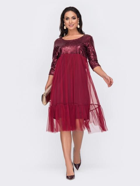 Двухслойное платье батал с пайетками на кокетке бордовое 52114, фото 1