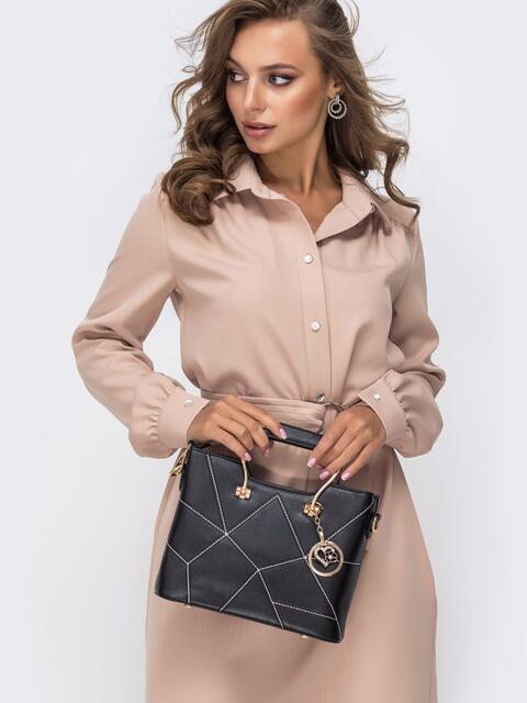 Чёрная сумка из искусственной кожи с контрастной отстрочкой - 41775, фото 1 – интернет-магазин Dressa