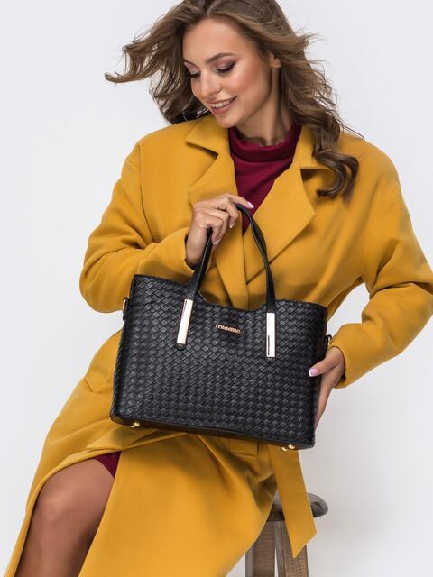 Фактурная сумка-тоут из искусственной кожи чёрная - 41774, фото 1 – интернет-магазин Dressa