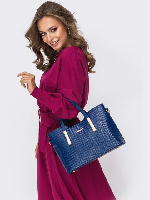 Фактурная сумка-тоут из искусственной кожи синяя - 41773, фото 1 – интернет-магазин Dressa