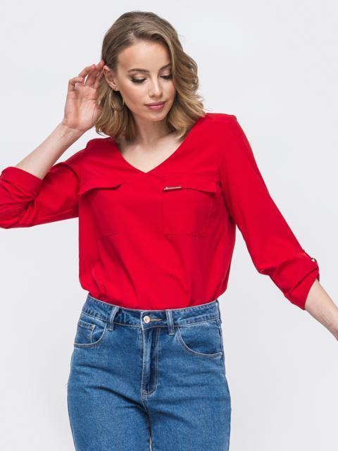 Красная блузка с V-вырезом и накладными карманами 45575, фото 1