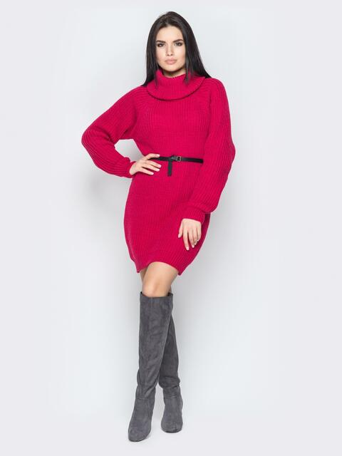Красное платье с рукавом-реглан и поясом - 19471, фото 1 – интернет-магазин Dressa
