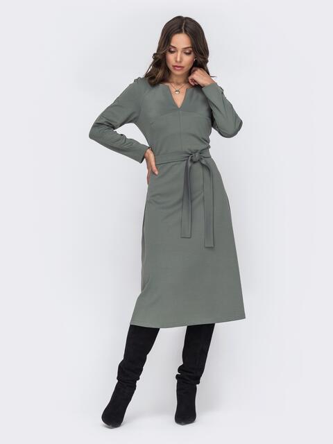 Платье с фигурным вырезом и юбкой-трапеция хаки 51188, фото 1