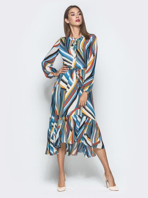Принтованное платье из шифона с удлиненной спинкой коричневое - 40125, фото 1 – интернет-магазин Dressa