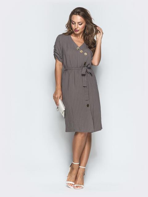Приталенное платье-миди в узкую полоску с разрезом серое - 39012, фото 1 – интернет-магазин Dressa