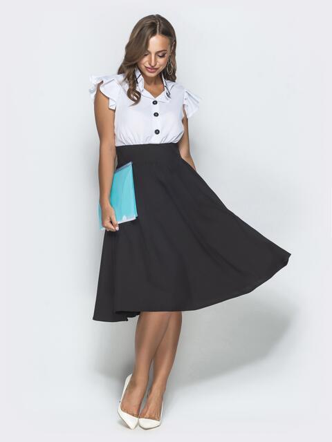 """Расклешенное платье с завышенной талией и рукавом """"крылышко"""" 39663, фото 1"""
