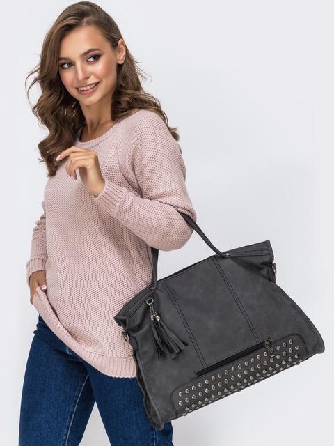 Серая сумка-хенхелд из искусственной кожи - 41764, фото 1 – интернет-магазин Dressa