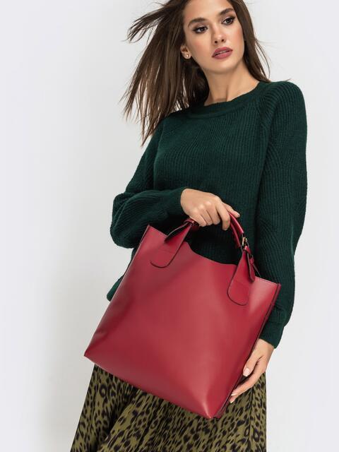 Сумка-тоут красного цвета с косметичкой - 41771, фото 1 – интернет-магазин Dressa