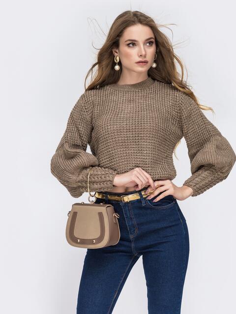 """Укороченый свитер с вязкой """"соты"""" и объемным рукавом бежевый - 42318, фото 1 – интернет-магазин Dressa"""