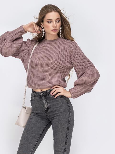 """Укороченый свитер с вязкой """"соты"""" и объемным рукавом пудровый - 42317, фото 1 – интернет-магазин Dressa"""