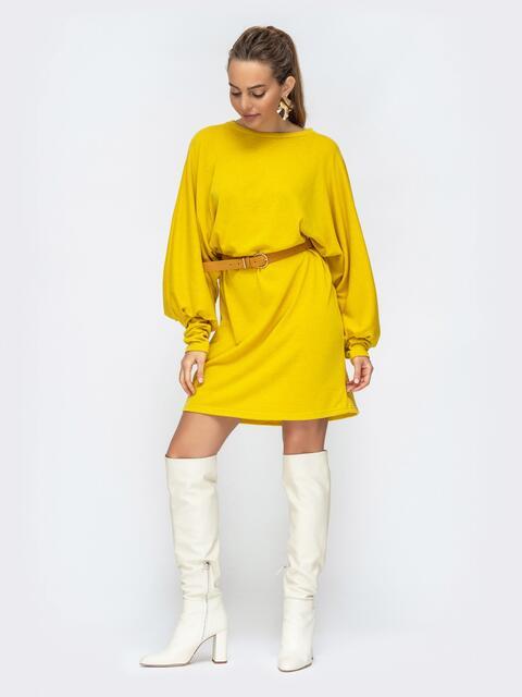 """Желтое платье с рукавом """"летучая мышь"""" 44878, фото 1"""