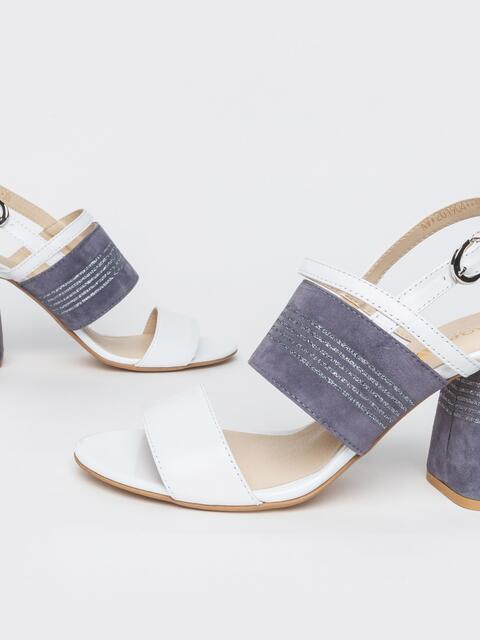 Белые босоножки из натуральной кожи на устойчивом каблуке - 39679, фото 1 – интернет-магазин Dressa