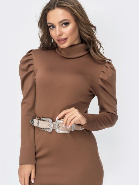Коричневое платье-гольф с рукавами-фонарик 44999, фото 1