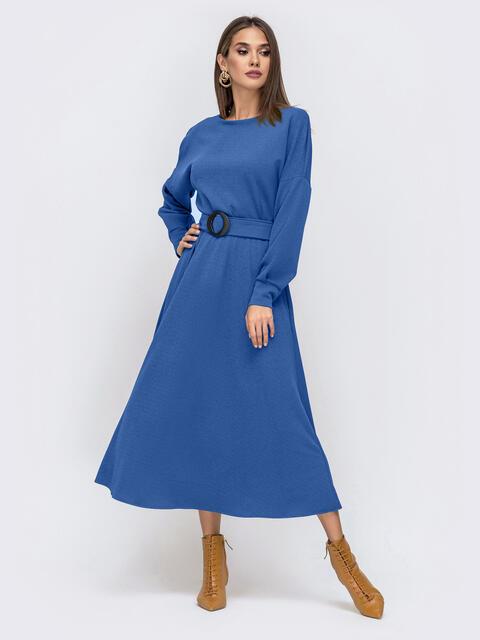 Платье из креп-дайвинга с расклешенной юбкой синее 51593, фото 1