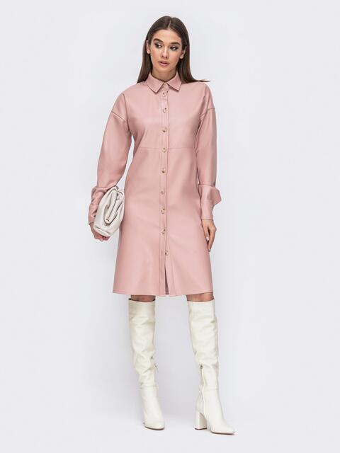 Платье-рубашка из эко-кожи розового цвета 44773, фото 1