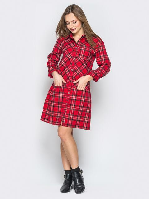 Платье-рубашка в клетку с карманами красное - 19640, фото 1 – интернет-магазин Dressa