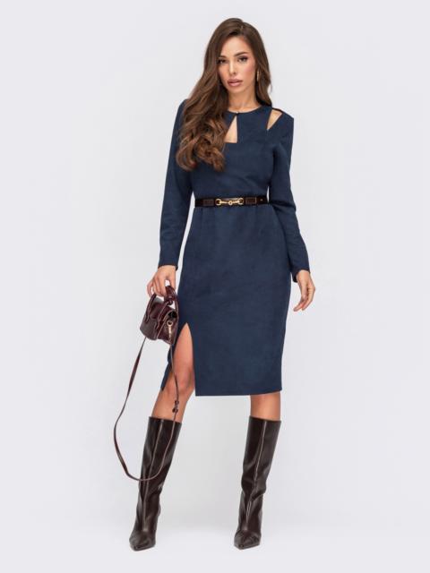 Темное-синее платье из замши с фигурными вырезами 55524, фото 1