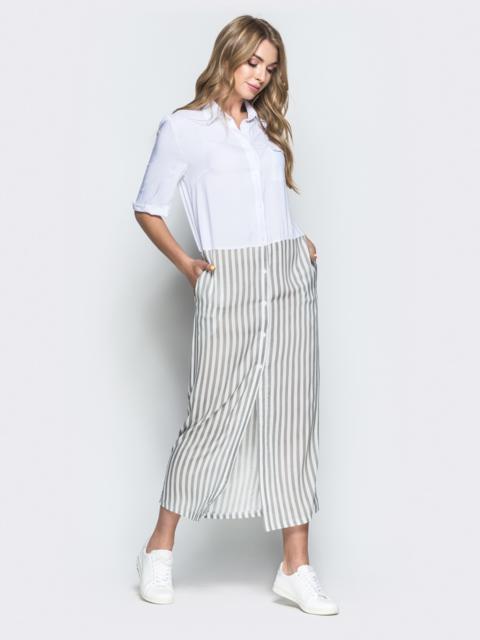 Белое платье-рубашка в серую полоску по низу - 38909, фото 1 – интернет-магазин Dressa