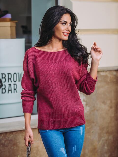 Джемпер с удлиненной спинкой и спущенным плечом бордовый - 13111, фото 1 – интернет-магазин Dressa