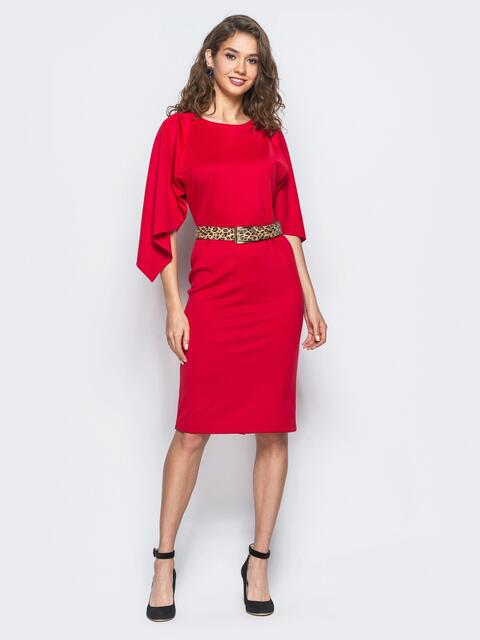 Платье красного цвета с леопардовым поясом в комплекте - 17942, фото 1 – интернет-магазин Dressa