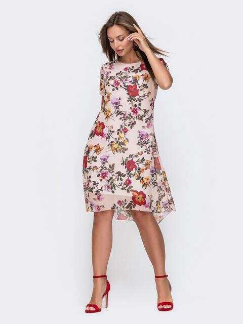 Пудровое платье-трапеция из шифона с цветочным принтом 49322, фото 1
