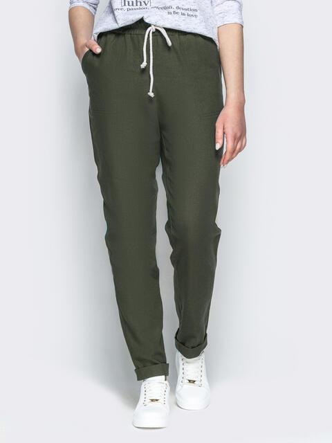 Спортивные штаны с завышеной талией на резинке цвета хаки 53694, фото 1