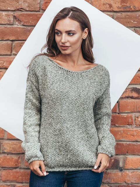 Свободный свитер со спущенным плечевым швом коричневый - 13039, фото 1 – интернет-магазин Dressa