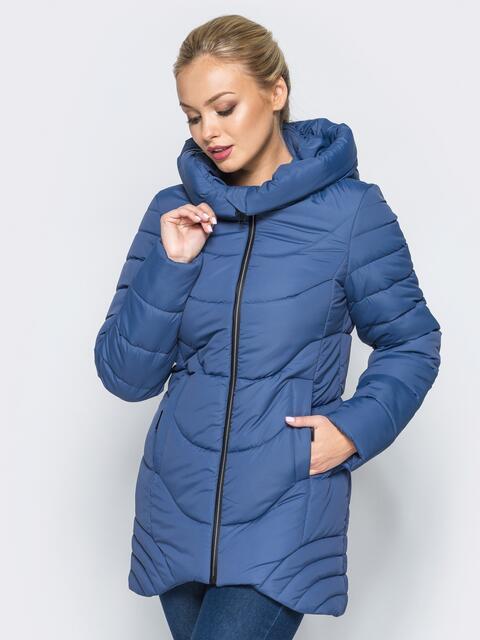 Удлиненная куртка с капюшоном и ассиметричным низом синяя - 16964, фото 1 – интернет-магазин Dressa