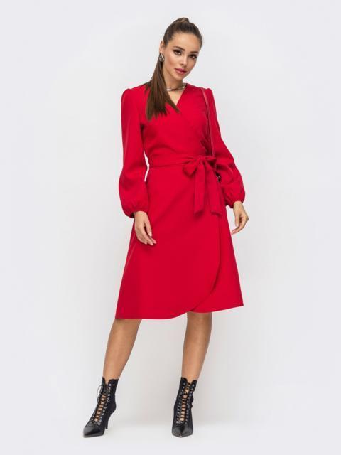 Лаконичное платье на запах красного цвета 50239, фото 1