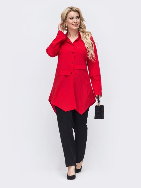 Брючный комплект батал с удлиненной блузкой красный 50941, фото 1