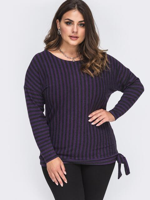 Джемпер большого размера в полоску фиолетовый 51005, фото 1