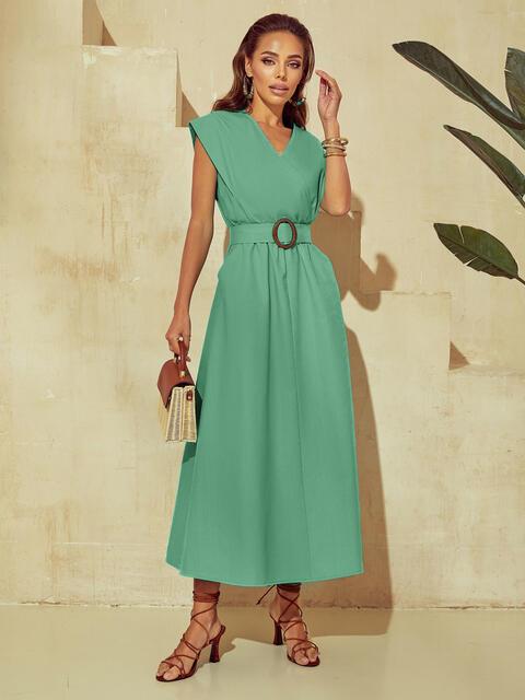 Мятное платье из льна с расклешенной юбкой 53843, фото 1