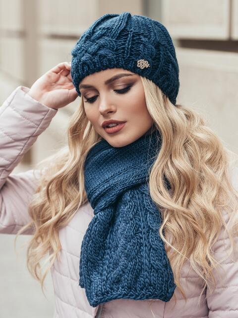 Темно-синий комплект крупной вязки с «косами» - 15558, фото 1 – интернет-магазин Dressa