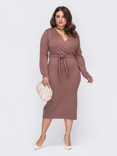 Трикотажное платье-миди большого размера коричневое 51240, фото 1
