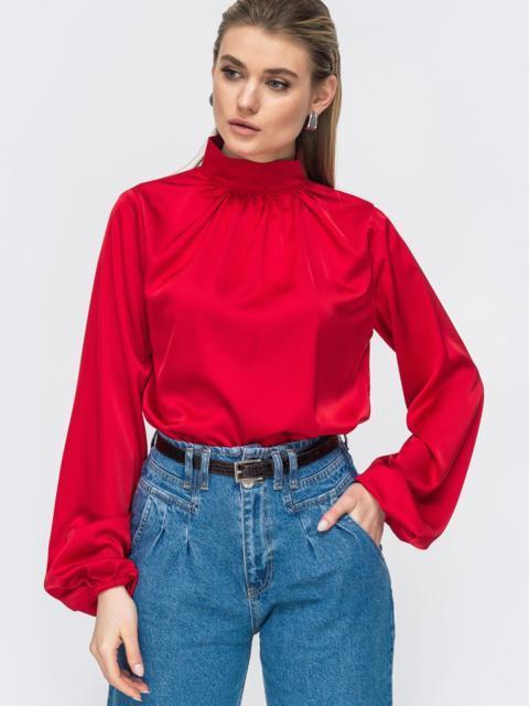 Шелковая рубашка с воротником-стойкой красная 45750, фото 1