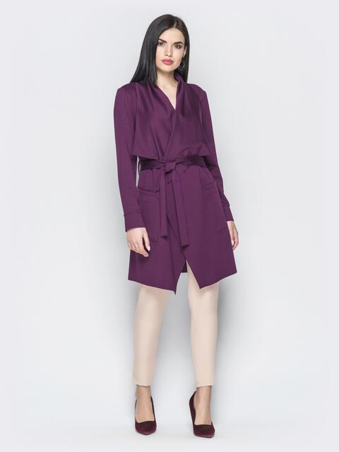 Асимметричный кардиган с накладными карманами фиолетовый - 22173, фото 1 – интернет-магазин Dressa