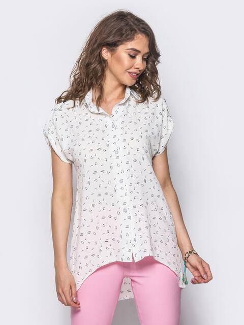 114177a3a44 Белая блузка с удлиненной спинкой и принтом