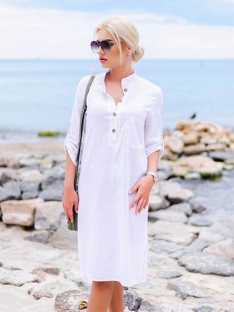 Белое льняное платье-рубашка прямого кроя с пуговицами - 11314, фото 1 – интернет-магазин Dressa